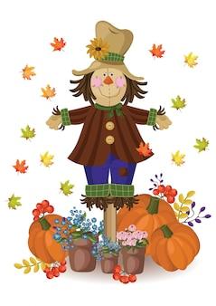 Pompoen en herfstbladeren decor. vintage kaart