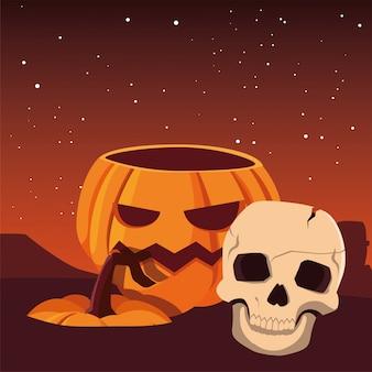 Pompoen en schedel gelukkige halloween-viering