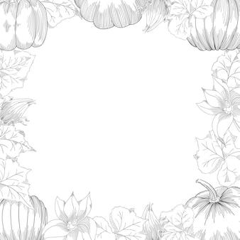 Pompoen frame vector tekening set