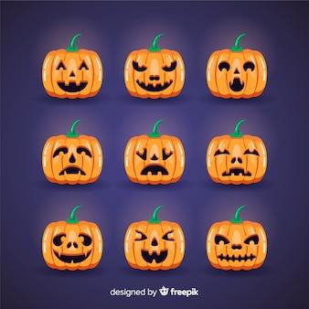 Pompoen gezicht uitdrukkingen halloween set