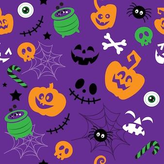 Pompoen grappige gezichten spin skelet en spinnenweb naadloze patroon vector illustratie geïsoleerd