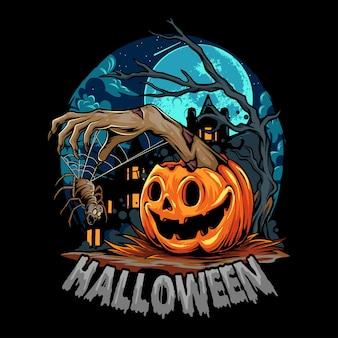 Pompoen halloween die zombiehanden uitdeelt met enge spin