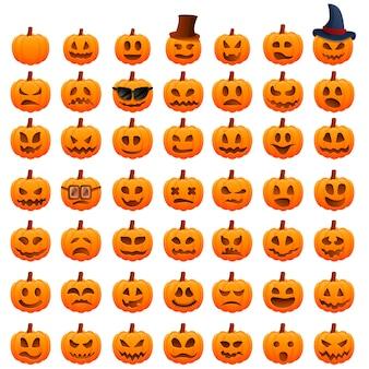 Pompoen halloween iconen set, cartoon stijl