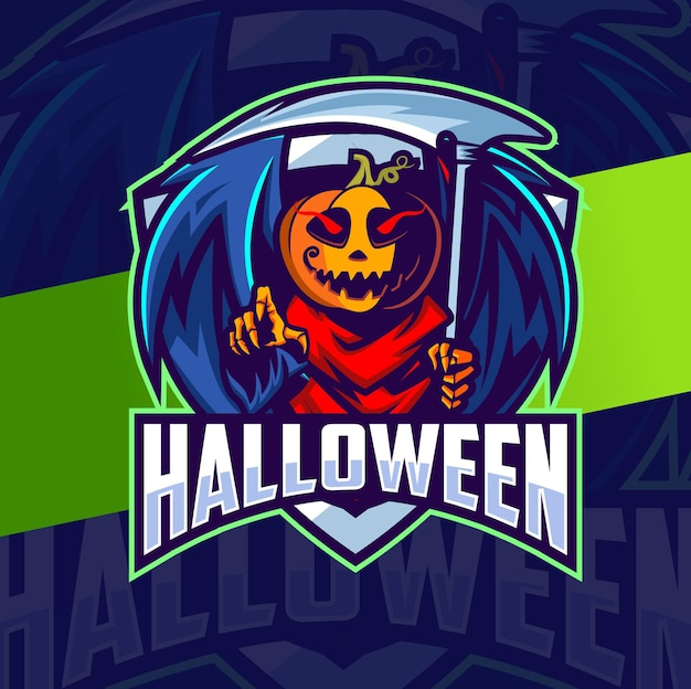 Pompoen halloween mascotte karakter esport logo ontwerp voor halloween viering en game logo