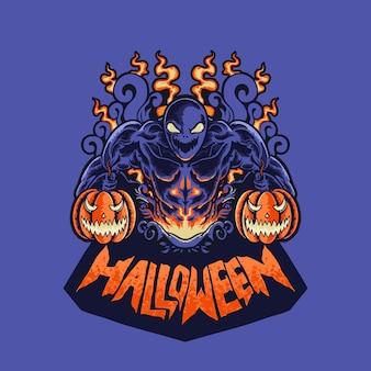 Pompoen halloween monster hoofd ornament heks