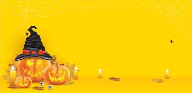 Pompoen halloween op gele achtergrond