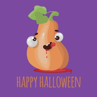 Pompoen halloween platte ontwerp cartoon afbeelding instellen