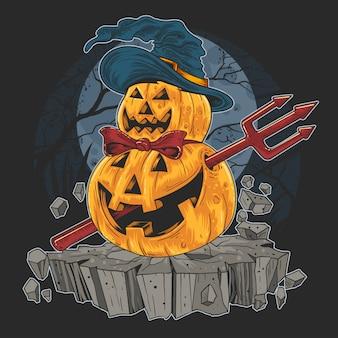 Pompoen halloween truc of behandel rood duivelkunstwerk
