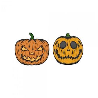 Pompoen halloween vintage illustratie graveren
