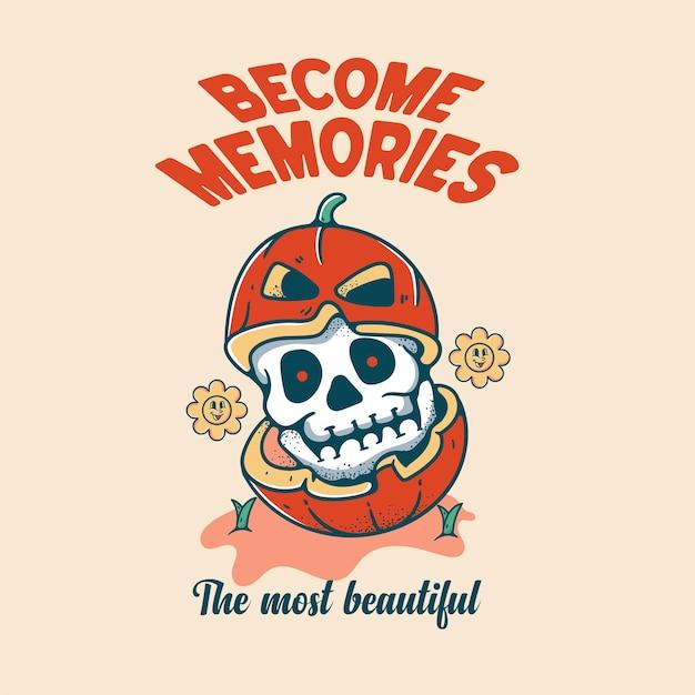 Pompoen in schedel halloween karakter vintage stijl voor t-shirts
