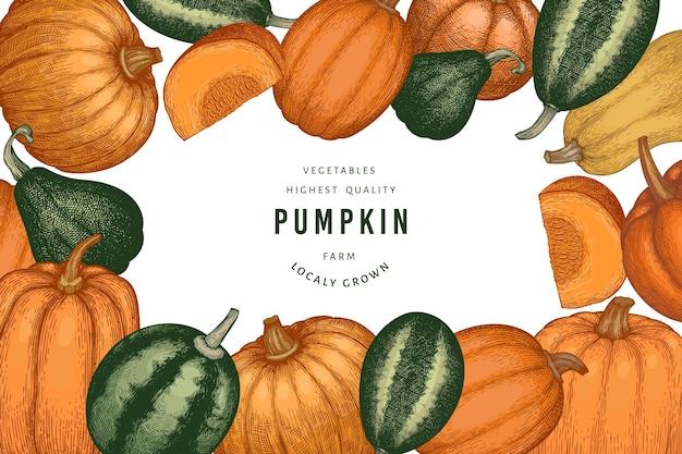 Pompoen kleur ontwerpsjabloon. vector handgetekende illustraties. thanksgiving achtergrond in retro stijl met pompoen oogst. herfst achtergrond.