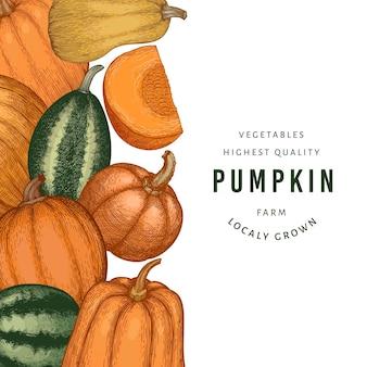Pompoen kleur ontwerpsjabloon. vector handgetekende illustraties. thanksgiving-achtergrond in retro-stijl met pompoenoogst. herfst achtergrond.