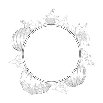Pompoen krans vector tekening set