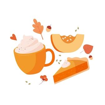 Pompoen latte met kruiden en room en zoete pompoentaart