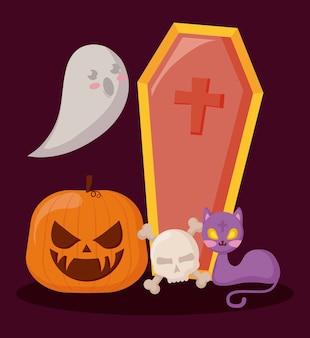Pompoen met geest en halloween-concept