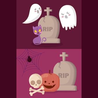 Pompoen met halloween-concept