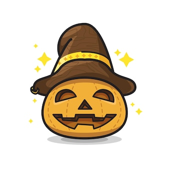 Pompoen met hoed halloween schattige lijntekeningen illustratie