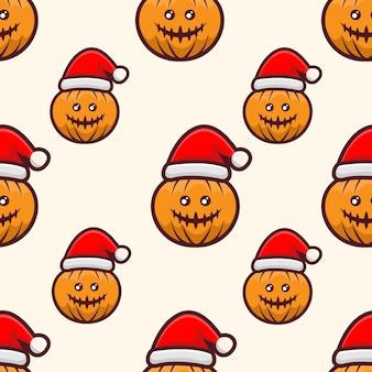 Pompoen met hoed kerstpatroonontwerp