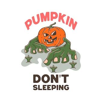 Pompoen met schedelhand illustratie karakter happy halloween met raaf
