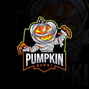 Pompoen mummie mascotte logo sjabloon