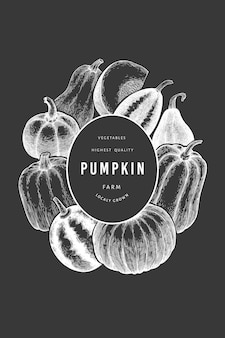 Pompoen ontwerpsjabloon. vector hand getekende illustraties op krijtbord. thanksgiving achtergrond in retro stijl met pompoen oogst. herfst achtergrond.