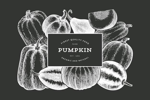 Pompoen ontwerpsjabloon. vector hand getekende illustraties op krijtbord. thanksgiving-achtergrond in retro-stijl met pompoenoogst. herfst achtergrond.