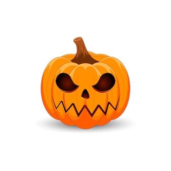 Pompoen op witte achtergrond happy halloween vakantie enge oranje pompoen met smile