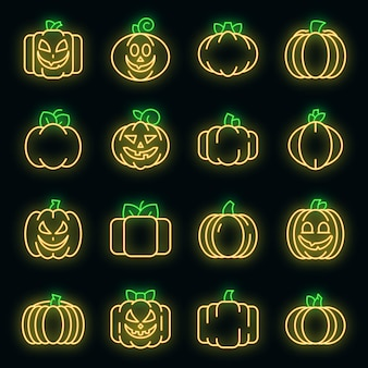 Pompoen pictogrammen instellen. overzichtsreeks van de neonkleur van pompoen vectorpictogrammen op zwart