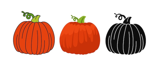 Pompoen platte cartoon set lijn doodle pictogram zwart glyph stijl halloween of thanksgiving day symbool