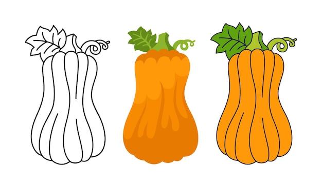 Pompoen platte cartoon set lijn pictogram doodle stijl halloween of thanksgiving day symbool oogst