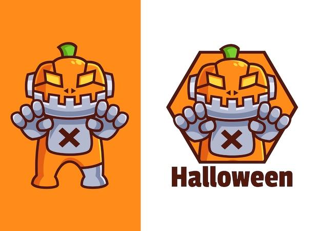 Pompoen robot mascotte logo ontwerp