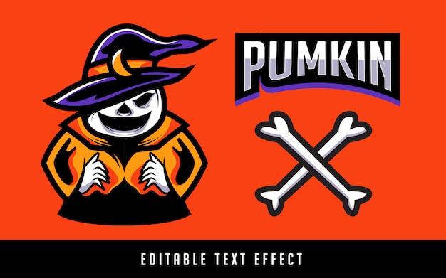 Pompoen sport logo met bewerkbare tekst