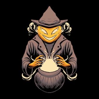 Pompoen witcher magische illustratie