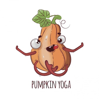 Pompoen yoga grappige halloween cartoon afbeelding