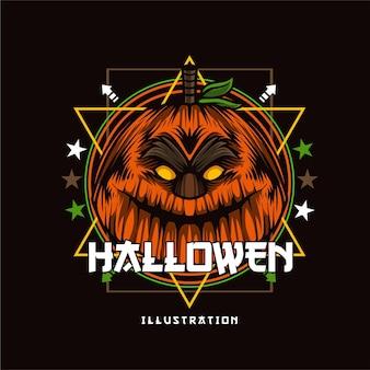 Pompoendetailillustratie voor halloween-shirtontwerpsjabloon