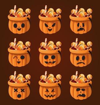 Pompoenemmer halloween met uitdrukking