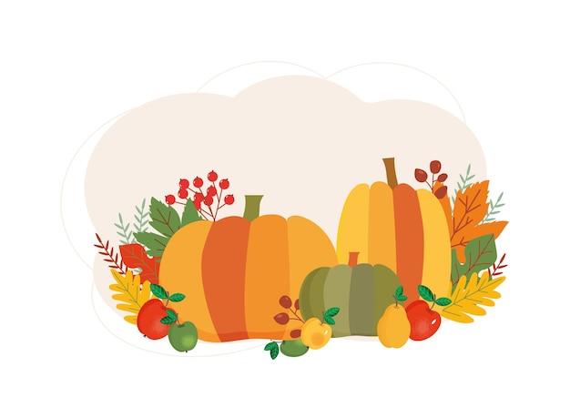 Pompoenen appels peren bessen kleurrijke herfstbladeren herfstoogst symbolen oogstconcept