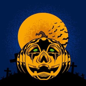 Pompoenen en maan voor halloween-illustratie