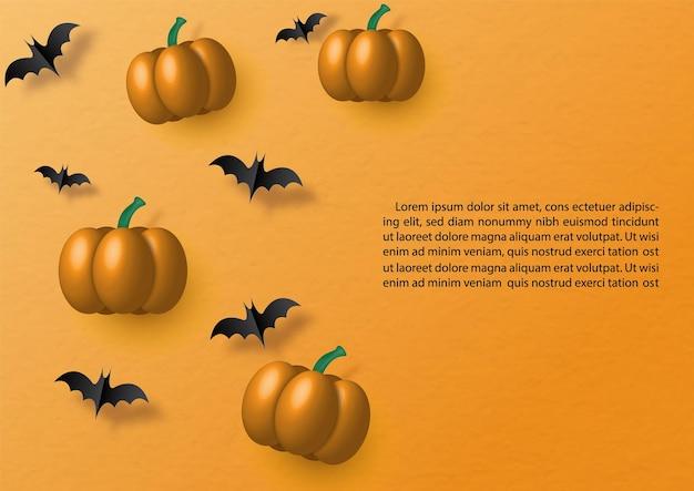 Pompoenen in 3d met vleermuizen vliegen in papier gesneden stijl op oranje achtergrond