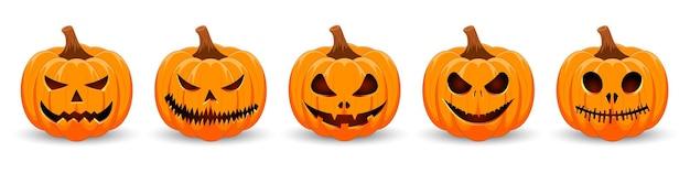 Pompoenen instellen op witte achtergrond oranje pompoen met glimlach voor de vakantie happy halloween