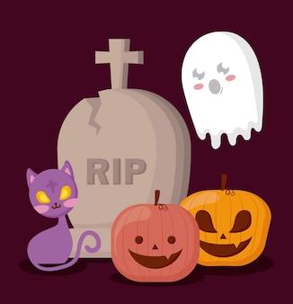 Pompoenen met halloween-concept