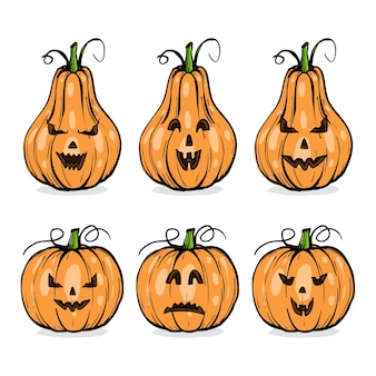 Pompoenen met halloween-gezichten, emoties set, hand getrokken schets