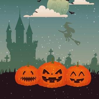 Pompoenen met heks die in scène halloween vliegt
