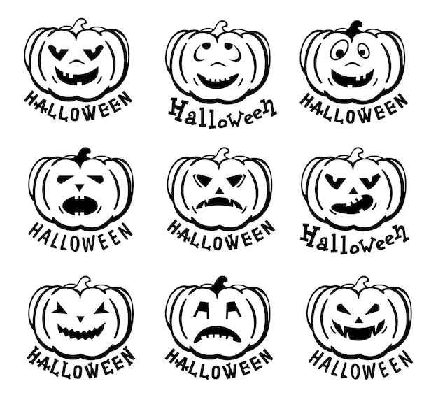 Pompoenen pictogrammen vector zwarte halloween pompoen silhouet set van emoticon pompoenen