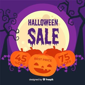 Pompoenen platte halloween verkoop