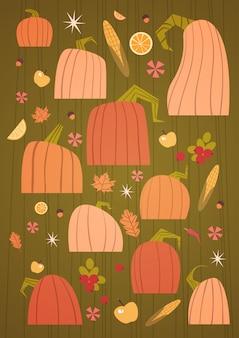 Pompoenen set oogst herfst concept groenten en fruit collectie