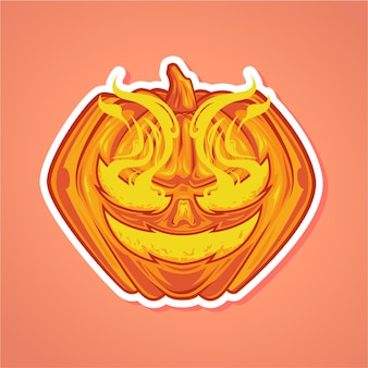 Pompoenen smiley vector illustratie premium