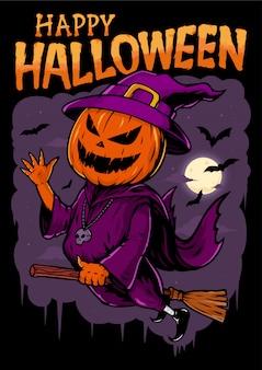 Pompoenen vliegen in heks kostuums, met belettering tekst happy halloween