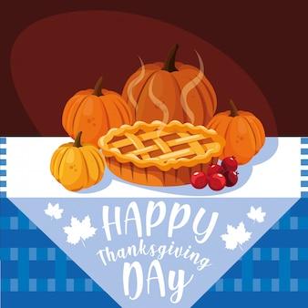 Pompoenen voor thanksgiving day met pastei in lijst
