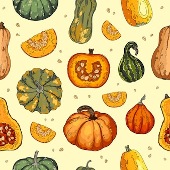 Pompoengroenten, kalebassen en pompoenenpatroon. herfst textuur voor thanksgiving, oogst en halloween.